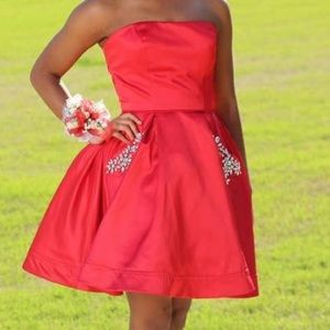 Sherri Hill Short Strapless A Line Dress 51390